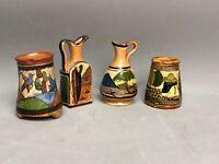 RARE Set of 4 Vintage Tlaquepaque Tonala Mini Pitcher Jugs Pots Folk Art Mexico