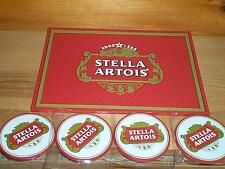 STELLA ARTOIS BEER SPILL MAT GLASS COASTER & BAR COASTERS NEW