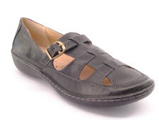 New HUSH PUPPIES Women Leather Flat Wedge Heel Casual Loafer Sandal Shoe Sz 7 M