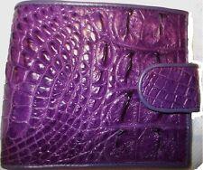 GENUINE CROCODILE BELLY-BONE SKIN LEATHER POCKET BOOK BIFOLD PURPLE WALLET NEW