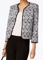 Kasper NEW White Black Women's Size 12P Petite OPen-Front Jacket $129- 411