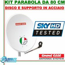PARABOLA 80 CM ACCIAIO EMMEESSE ANTENNA SATELLITARE CON SUPPORTO IN ACCIAIO