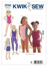 Kwik Sew SEWING PATTERN K2724 Girls Leotards,Leggings & Shorts Age 4,5,6,7