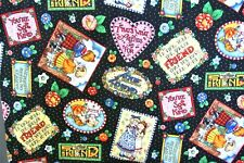 """MARY ENGELBREIT 100% COTTON FABRIC OUT OF PRINT HTF FRIENDS 3 yds x 44"""" COLORFUL"""