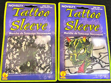 LOT of 2 Novelty Fake Tattoo Sleeves One size Fits Most Green Devil & Monster