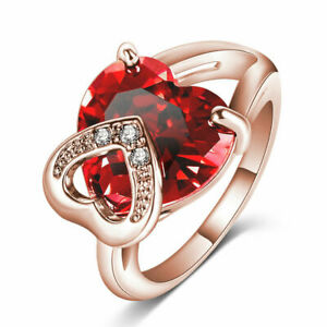US SELLER BEAUTIFUL ROSE GOLD FILLED RUBY RED HEART SIMULATED GEM RING SIZE 8