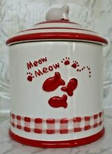 New listing Treat Jar Dish Canister Cat Meow Ceramic Red White Lid Fish