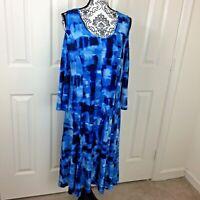 Susan Graver Blue Liquid Knit 3/4 Sleeve Cold Shoulder Dress Size Large