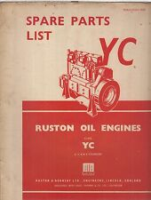 RUSTON YC SERIES 2- 3- 4- 6-CYL DIESEL ENGINE ORIGINAL FACTORY PARTS CATALOGUE
