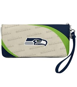 NWT NFL Seattle Seahawks Women Synthetic Leather Curve Zip Organizer Wallet