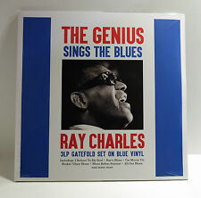 RAY CHARLES Genius Sings The Blues 150gr BLUE COLOR VINYL 3xLP Sealed 40 TRACKS!