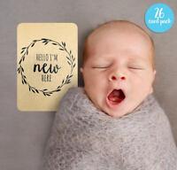 Gender Neutral Printed Milestone Cards - Kraft Wreath Baby (set of 26 cards)