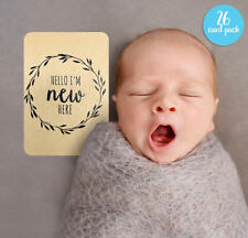 Gender Neutral Printed Milestone Cards - Kraft Wreath Baby (set of 26 cards)