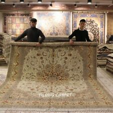 Clearance! Yilong 9'x12' Beige Wool Area Rug Classic Hand knotted Carpets 1379