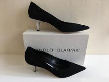Zapatos de tacón alto Manolo Blahnik Naranja y Negro Napa de cuero mulas Peep Toe 40 Reino Unido 6.5