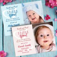 Personalised Photo Thank You Cards Baby Boy or Girl Birthday Christening Gift