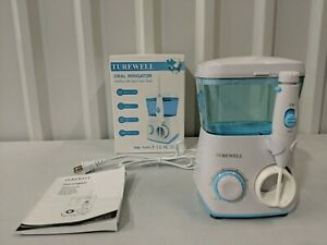 Turewell Oral Irrigator Water Flosser + 8 Accessory Tips - White/Blue - Open Box