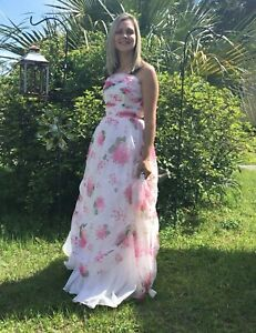 60's Vintage White  Pink Floral Formal Princess Dress and Shall