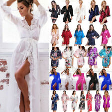 Womens Bridesmaid Satin Robe Kimono Wedding Floral Sleepwear Night Dressing Gown