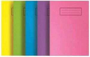 Silvine A5 Exercise Books, Laminated, Bright Colours, Ruled Home School Notebook