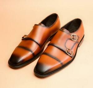 Handmade Men Shaded Tan Brown Leather Double Monk Shoes, Office Shoes