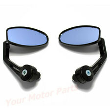 """7/8"""" Aluminum Rear View Side Mirror Black Handle Bar End Oval For Motorcycle MT"""