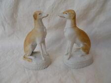 """Ancienne paire de chiens en biscuit porcelaine Anglaise """" Lévrier """""""