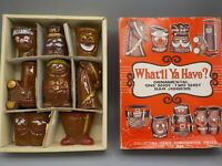 "Vtg 60's Shot Glass Set Ceramic ""What'll Ya Have?"" 8 Pc Japan w/Box Bar Novelty"