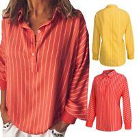 Women Stripe Print Long Sleeve Shirt Tops Ladies Loose Blouse Casual Tee Top