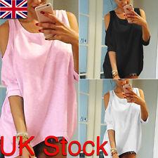 Ladies Cold Shoulder Loose T Shirt Tops Womens 3/4 Sleeve Casual Boho Mini Dress
