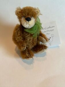 """DEB CANHAM """"RUSTY"""" A BROWN MOHAIR FULLY JOINTED MINI BEAR 3 1/2"""" SPECIAL EDITION"""