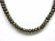 Pyrit facett. Kette 43 cm 8,6 mm Collier Collar Collana Nr. K4084
