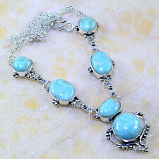 "Handmade Pale Blue Caribbean Larimar 925 Sterling Silver 18.5"" Necklace #G40937"
