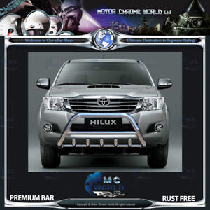 FITS TO TOYOTA HILUX BULL BAR CHROME AXLE NUDGE PUSH A-BAR S STEEL 2006-2015