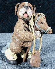 "Vtg Sarah's Attic ""Scooter"" Cowboy Hound Dog on Stick Horse Figurine Signed 1990"