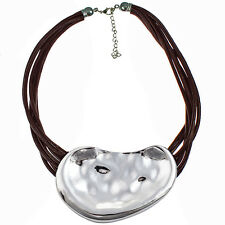 Huge chunky silver hammered finish statement pendant brown cord choker necklace