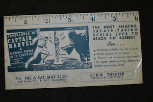 1941 Adventures of Captain Marvel Blotter - Lido Theater, Brooklyn, NY