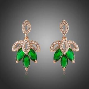 Xmas Gifts DARK GREEN LEAVES DESIGN DROP EARRINGS KHAISTA