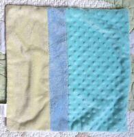 Dolly Yellow Blue Green White Plush Minky Dot w Satin Baby Security Blanket EUC