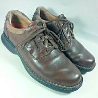 CLARKS UN.RAVEL Brown Leather Comfort Lace Casual 85016 Oxford Shoes Men's 9.5 M