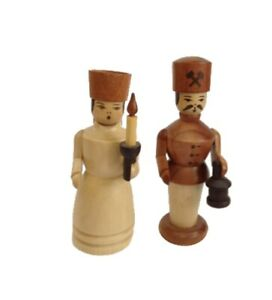 Angel And Miner 2 13/16in Christmas Figures Seiffen New Christmas Erzgebirge