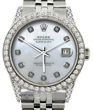 MEN' ROLEX WATCH SS 36 MM 5CT DIAMOND WATCH WITH WHITE MOP DIAL