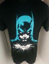 Batman (the Dark Knight Rises) Mens T-Shirt  - Turqoise Batman Face on Black