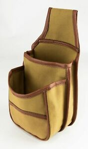 TRADITIONAL ENGLISH COTTON CANVAS 50 HULL BELT FITTING HUNTING CARTRIDGE POUCH