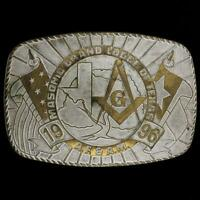Vtg Masonic Grand Lodge Of Texas A. S. & A. M. 1996 Mason Freemason Belt Buckle