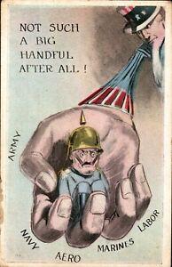 WW1 Patriotic Postcard Uncle Sam Holds Kaiser,Comical Kaiser Series,Illustration