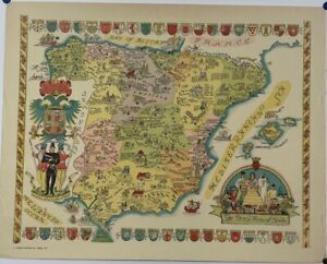 ORIGINAL Vintage 1935 Colortext 'Story Map of SPAIN' Pictorial MAP - Europe