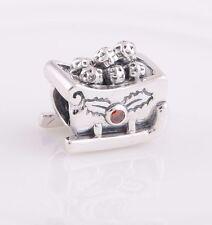 Sleigh Sledge Santa Xmas Solid 925 Sterling Silver charm fits European bracelet