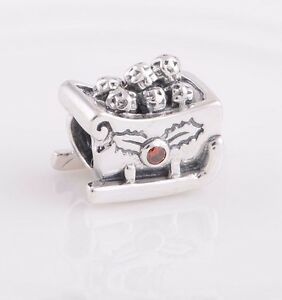 💖 Sleigh Sledge Santa Snow Winter Christmas Genuine 925 Sterling Silver Charm