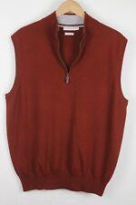 Peter Millar Mens Maroon Marino Wool Quarter Zip Sweater Sz XL